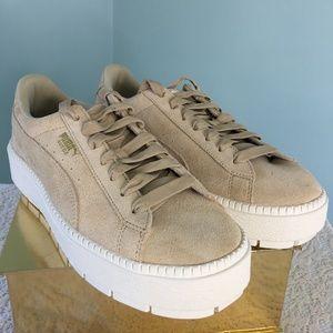 Puma Tan Suede Platform Trace Sneakers